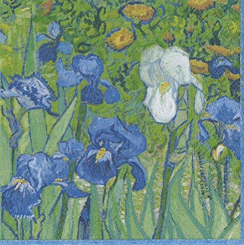 Caspari 13670L Van Gogh Irises-Tovaglioli di Carta, Verde