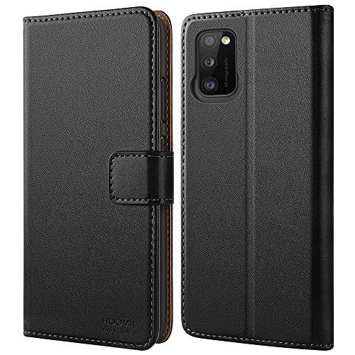 HOOMIL Handyhülle für Samsung Galaxy A41 Hülle Leder Tasche Flip Hülle Schutzhülle Kompatibel mit Samsung A41 Hülle Schwarz