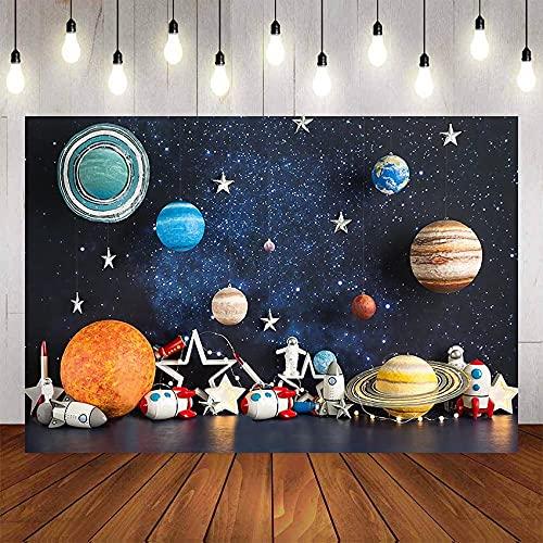 Fondo Espacio Astronauta Cohete astrología Planeta Galaxia bebé Ducha niño cumpleaños Foto Estudio telón de Fondo A1 7 x 5 pies / 2,1 x 1,5 m