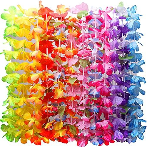 36Pcs Ghirlanda Hawaiana Collana Tropicale Ghirlande Hawaii Hula Multicolori Fiori Ghirlande per Vacanze Matrimoni spiagge