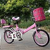 ASPZQ Mini Bicicleta Portátil De Cercanías, Cómodo Portátil Portátil Portátil Plegable Plegable De Bicicleta para Adultos Alumnos De La Bicicleta Ligera,Rosado,20 Inches