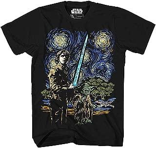 Star Wars Starry Night Luke Skywalker Yoda X-Wing Van Gogh Adult Men's Graphic Tee Apparel T-Shirt Black