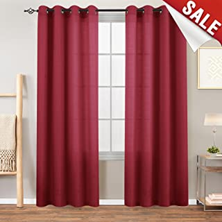 Privacy Semi Sheer Curtains for Bedroom Window Curtains 84 inches Long Casual Weave Linen Textured Living Room Window Treatment Set Burgundy Red 2 Panels