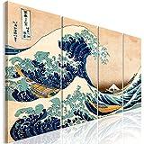murando Impression sur Toile intissee La Grande Vague de Kanagawa 160x60 cm 4 Pieces Tableau Tableaux Decoration Murale Photo Image Artistique Photographie Graphique Katsushika Hokusai p-B-0009-b-i