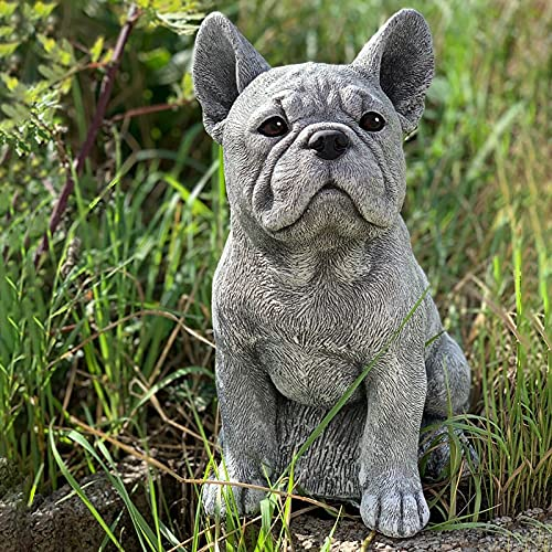 Wanzi Garden Gnome Statue, French Bulldog Resin Gnome Figurine, Resin Cute Gardening Decoration Dog Statue Ornament Sculpture, for Garden Apartment Decoration or As A Gift (Gray)