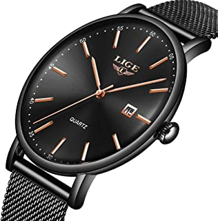 LIGE Watches for Men Sports Waterproof Analog Quartz Watch with Black Mesh Band Classic Casual Big Face Mens Wrist Watch
