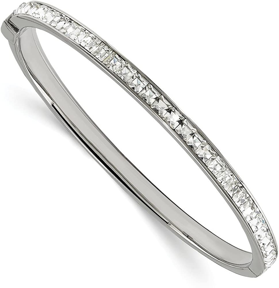 Solid Stainless Steel Preciosa Crystal Hinged Bangle Cuff Bracelet