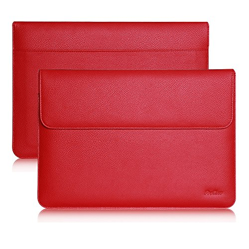 ProCase iPad Pro 12.9'' 2020 2018 2017 2015 Sleeve Bag, Protective Case Cover with Document Pocket and Apple Pencil Holder, for iPad 12.9 1st /2nd /3rd/4th Gen, Surface Pro X -Red