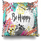 AEMAPE Throw Pillow Cover Square Case 40X40 Cm Memphis Paint Inspirational Quote Be Happy On Mint Pincel tipográfico de Trazo Verde Abstracto