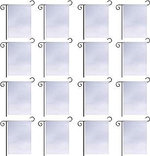 GoShell 16 قطعة علم حديقة فارغة بيضاء، طبقة واحدة من البوليستر نقل الحرارة أعلام مطبوعة، لافتة موكب حديقة خارجية أعلام ديك...
