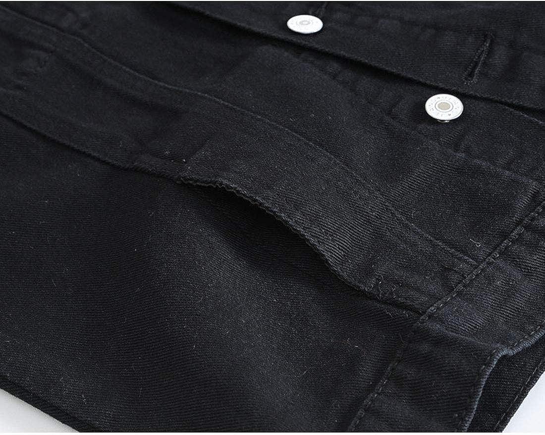 HZCX FASHION Mens Washed Denim Vest Ripped Motorcycle Raw Sleeveless Jean Jacket