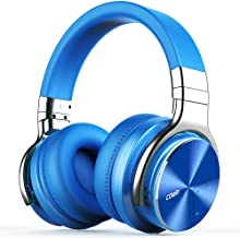 COWIN E7 PRO [Upgraded] Active Noise Cancelling Headphones Bluetooth Headphones with Mic Hi-Fi Deep Bass Wireless Headphones Over Ear 30H Playtime Travel Work TV Computer Cellphone - Blue (Renewed)