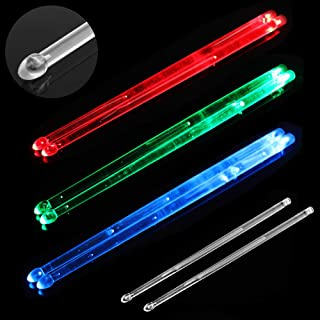 YiPaiSi Bright LED Light Up Drumsticks, 5A Drumsticks Light LED, Light Up Drumsticks, Glow in The Dark Night light Drum Sticks for Young & Old (Blue)