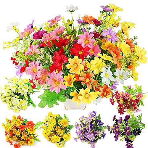 PAWT Flores Artificiales Margarita de 6 Paquetes,Flores de Plástico Sintético, Crisantemo , Arreglos Florales, para la Decoración de la Boda Caja del Porche del Jardín del Hogar