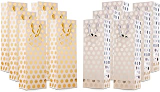 UNIQOOO 12Pcs Premium Metallic Foil Gold Sliver Polka Dots Wine Gift Bag Bulk,Large 14x4.75x3.5 Inch,Personalized Gift Tag,100%Recyclable Paper Bottle Carrier Tote Bags, For Christmas Wedding Birthday