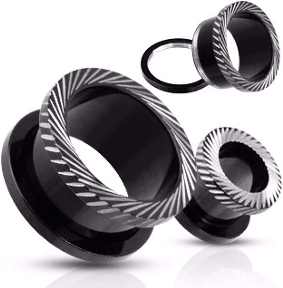 Covet Jewelry Slant Mill Grooved Cuts Screw-Fit Tunnel Plug Blackline Titanium IP Over Surgical Steel