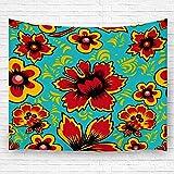 Leisure-Time Manta de Pared Hogar Adornar Flor Floral Arte Popular Ruso Khokhloma Étnico para Dormitorio Dormitorio 60 'X80'