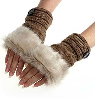 Women Girl Winter Warm Faux Rabbit Fur Wrist Fingerless Gloves Mittens