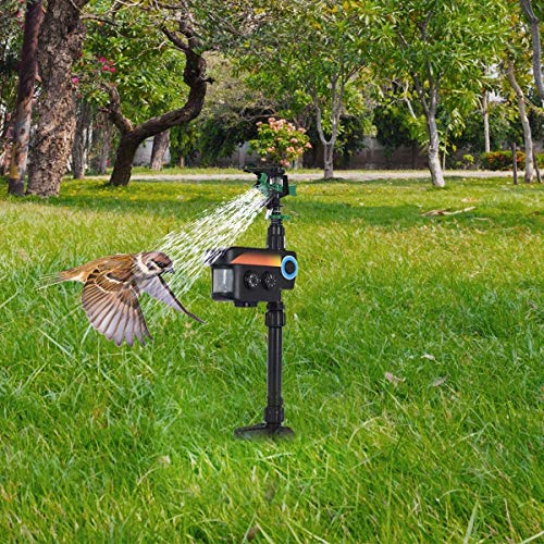 ARLIME Motion Activated Infrared Solar Animal Repeller & Sprinkler, Waterproof Farm Yard Garden Water Blaster Deterrent Repellent for Scaring Driving Away Wild Animals Dogs, Cats, Rats, Foxes, Birds