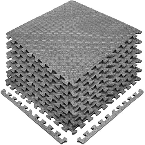 Sivan Health and Fitness Puzzle Exercise Mat EVA Foam Interlocking Tiles—Protective Flooring for Gym, Garage Flooring, Playroom, Workshop, Basement, and More (Grey)