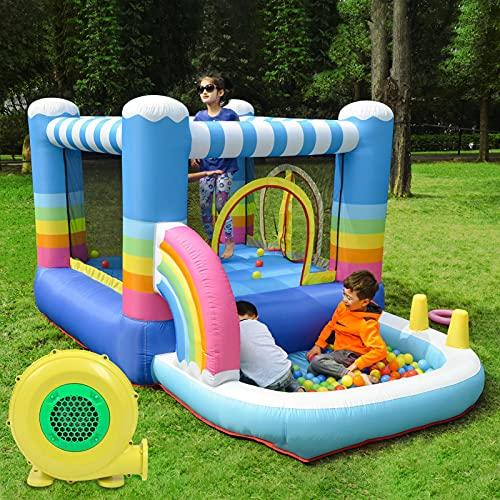 Château gonflable avec souffleur d'air et sac de transport, château gonflable pour enfant avec toboggan pour l'intérieur et l'extérieur, charge maximale de 250 lbs, 114 x 78,7 x 61,02 pouces