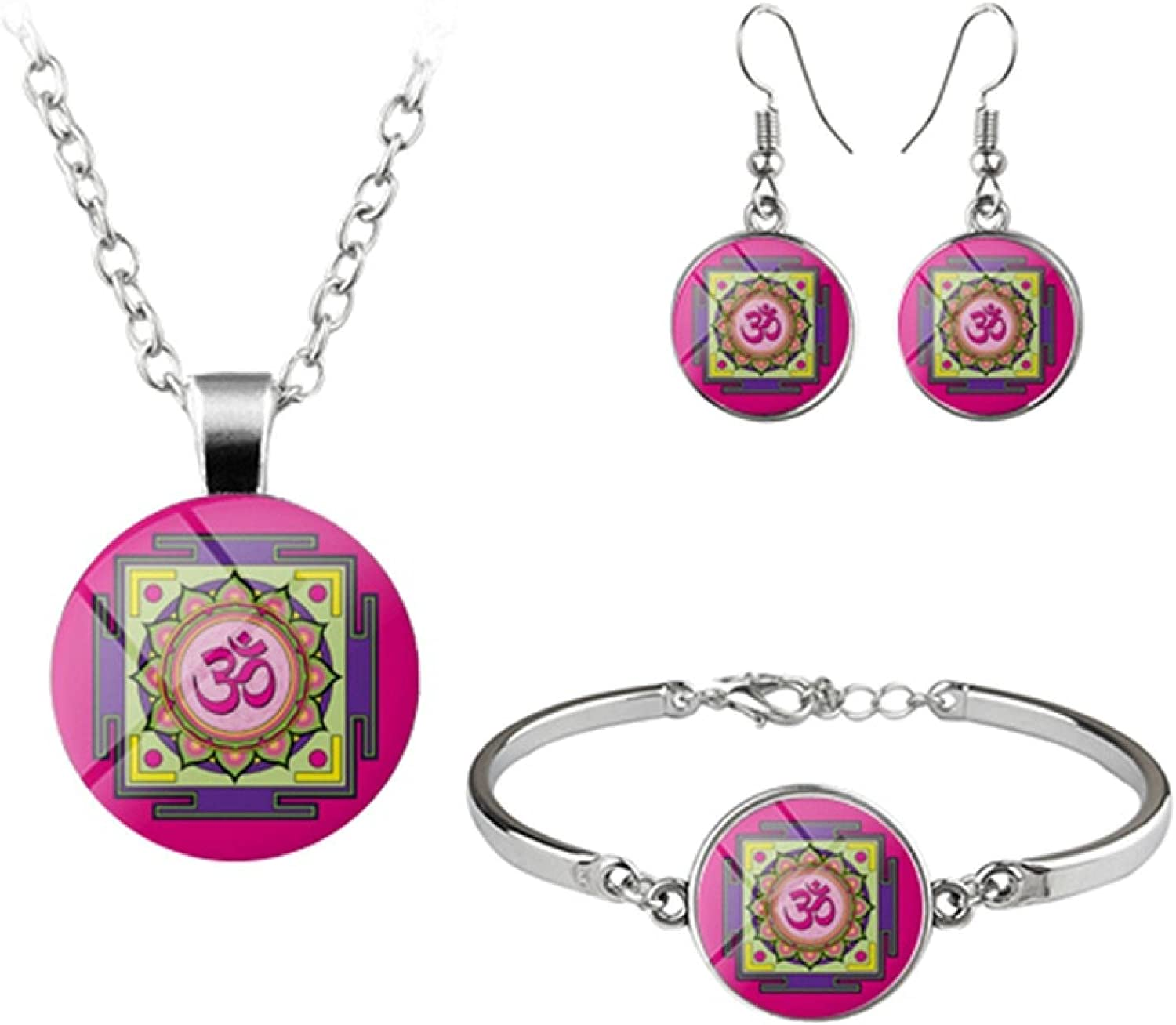Elegant Flower Jewelry Sets Light Blue Pink Purple Glass Cabochon Buddhism Necklace Earrings Bangles