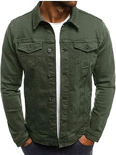 WSPLYSPJY Men's Simple Single Breast Long Sleeves Washed Denim Jacket