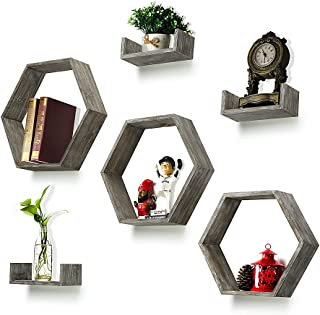 RR ROUND RICH DESIGN Wall Shelf Set of 6 - Rustic Wood 3 Hexagon Boxes and 3 Small Shelves for Free Grouping Driftwood Finish