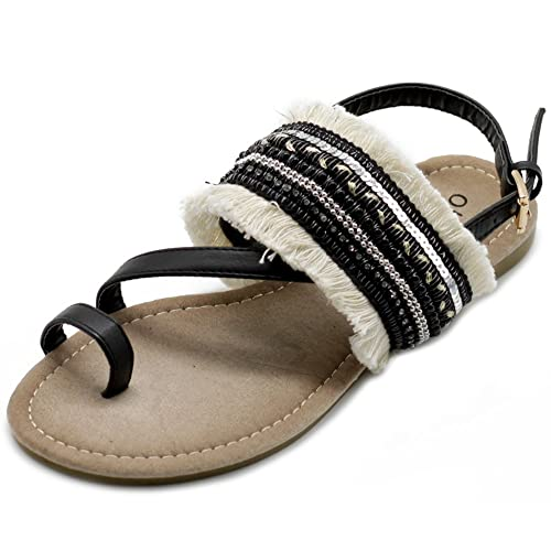 0863eb57712f3e Ollio Women s Shoes Ethnic Toe Ring Diagonal Strap Sling Back Boho Flat  Sandals