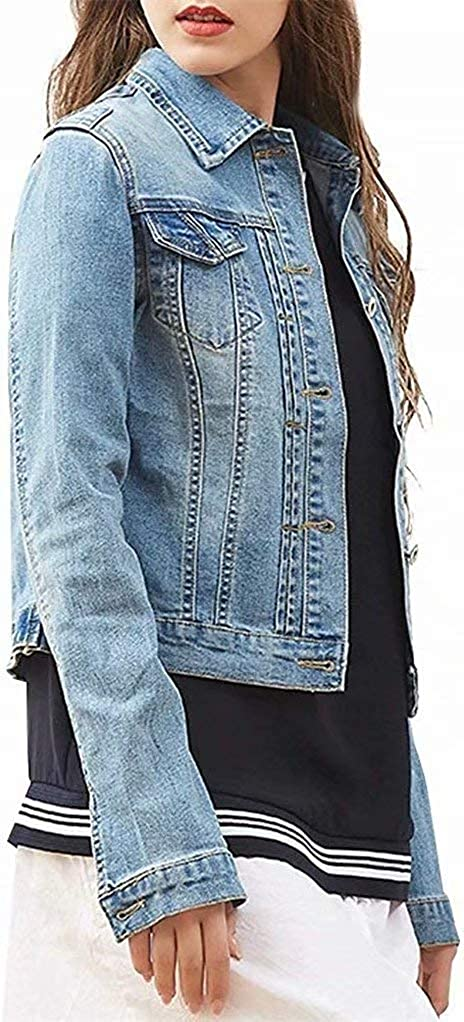 Spring Fall Short Stretch Denim Jacket Long Sleeve Plus Size Button-Down Top Coat for Women