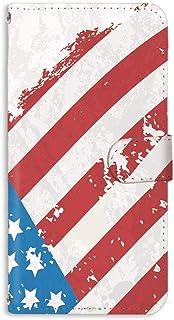 手帳型 ミラータイプ スマホケース LG isai vivid LGV32 用 [星条旗・ホワイト] ビンテージ 星柄 国旗 アメリカ エルジー イサイ ビビッド au スタンド スマホカバー 携帯カバー usa 00r_164@01m