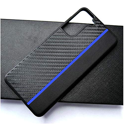 PUROOM for Samsung Galaxy S21 Plus Case Classic Carbon Fiber Leather Hybrid Case Shockproof Protection Bumper Cover Case for Samsung Galaxy S21 Plus / S21+ (Blue)