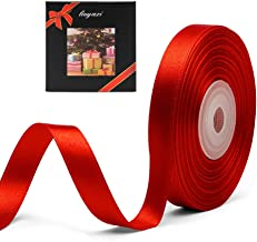 """Solid Color Double Faced Red Satin Ribbon 3/8"""" X 25 Yards, Ribbons Perfect for Crafts, Wedding Decor, Bow Making, Sewing, ..."""
