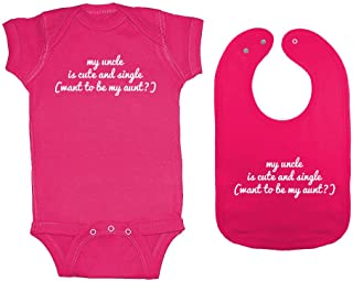 2-Pack Unisex-Baby My Uncle is Cute & Single (Want to Be My Aunt?) Bodysuit & Bib Set