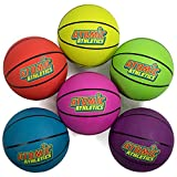 Atomic Athletics 6-Pack of Neon Rubber Playground Basketballs - Bulk Set of Youth Size 9, 11.5' Balls with Air Pump & Mesh Storage Bag - Great for Backyard, Playground, Team Sports, Gym Class & Recess