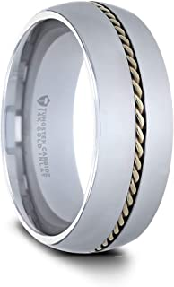 Thorsten Goldwyn | Tungsten Rings for Men | Tungsten | Comfort Fit | Wedding Ring Band with Braided 14k Gold Inlay - 6mm & 8mm