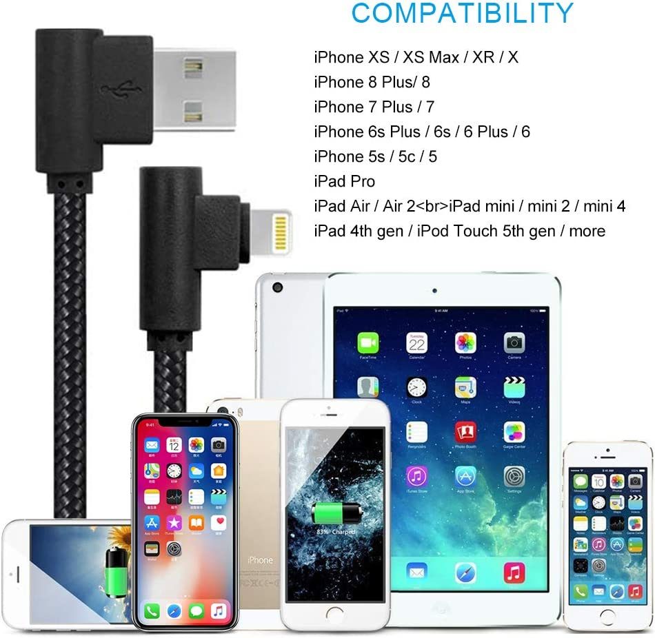 Short Lightning Cable 1ft 5 Pack Right Angle iPhone Cord Fast Charging Cable /& Data Transfer Compatible with iPhone X XS XR 8 Plus 7 6 5//iPad//iPod Black-Grey