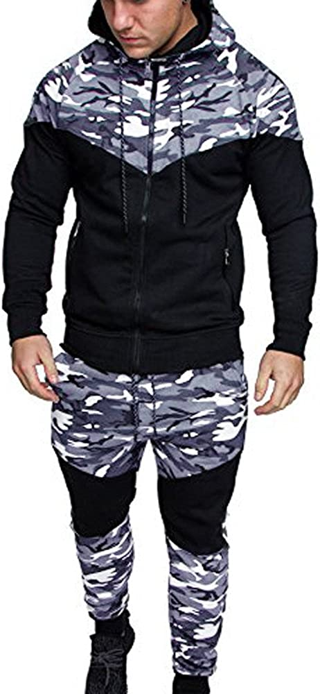 Asibeiul Men's Camouflage Print Sweatshirt Hooded Top Pant Sets Sports Suit Jogging Training Tracksuit Winter Elastic Outfits