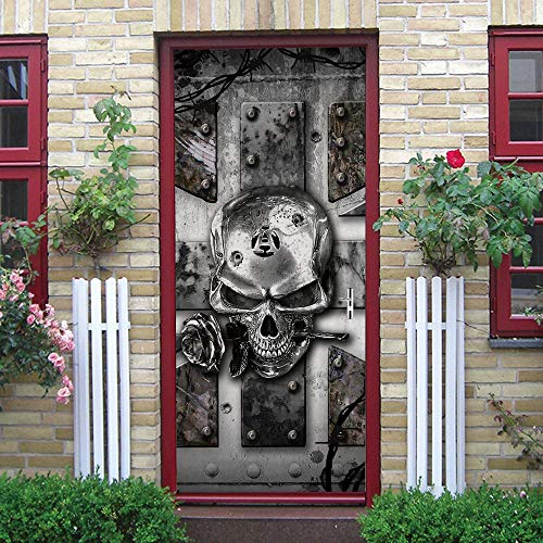 PKUOUFG Cráneo rosa puerta de hierro 3d Carteles Pegatinas de 95cmx215cm Mural puerta cristal poster paisaje armario Decoración Hogar Vinilo playa Guardería Niños extraíble Sala Estar Espacio