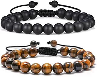Tiger Eye Mens Bracelet Gifts - 8mm Tiger Eye Lava Rock Stone Mens Anxiety Bracelets, Stress Relief Adjustable Tiger Eye Bracelet Aromatherapy Essential Oil Diffuser Lava Bracelet Gifts for Men