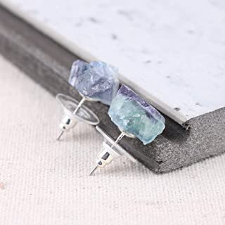 Raw Natural Rainbow Fluorite Gemstone Stud Earrings