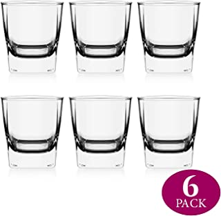 Element Drinkware Whiskey Glasses | Tumbler Bourbon Glasses for Old Fashioned Cocktails, Scotch Glasses with Thick Weighted Bottom 6-9 OUNCE Makes for Great Gift - 6 Pack
