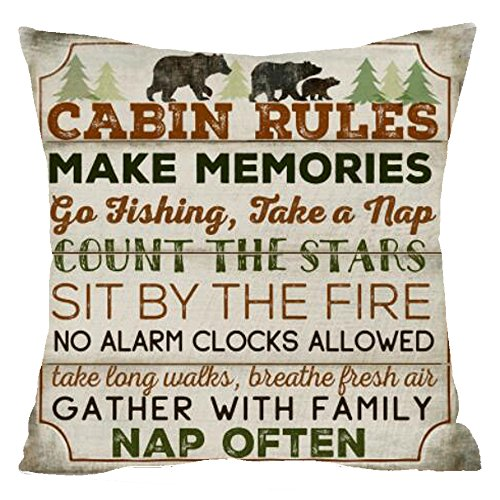 Nordic Retro Wood Wild Animal Bear Cabin Rules Count Star Tree Pine Cotton Linen Square Throw Waist Pillow Case Decorative Cushion Cover Pillowcase Sofa 18'x 18' (18''x18'', 4)