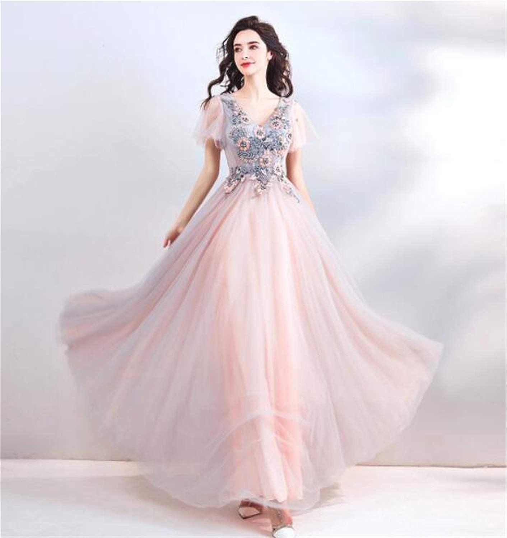 Fairy Fog bluee Soft Pink Bridal Wedding Toast Dress Birthday Party Host Dress
