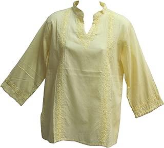 Women's Indian Mandarin Collar Hand Embroidered Gauze Cotton Tunic Top Blouse
