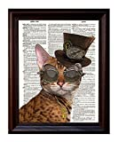 Fresh Prints of CT Dictionary Art Print - Steampunk Clockwork Kitty Cat - Printed on Recycled Vintage Dictionary Paper - 8'x11' - Mixed Media Poster on Vintage Dictionary Page