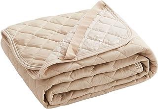 敷きパッド 夏用 リバーシブル シングル 冷感 しきぱっと ひんやり オールシーズンで使える 吸湿速乾 シーツ 洗える ベッドパッド 防ダニ 抗菌防臭 100×200cm ベージュ (VK Living)