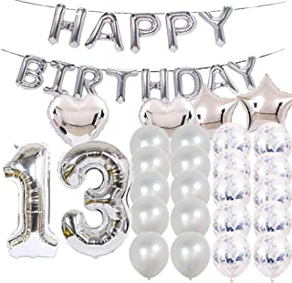 Sweet 13th Birthday Decorations Party Supplies,Silver Number 13 Balloons,13th Foil Mylar Balloons Latex Balloon Decoration,Great 13th Birthday Gifts for Girls,Women,Men,Photo Props