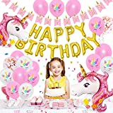 OLIVILO Unicorn Birthday Decorations for Girls, Unicorn Themed Birthday Party Decorations, Unicorn Party Supplies Favors, Unicorn Balloons Banner and Gifts, Unicorn Backdrop Wall Decor for Girls Room