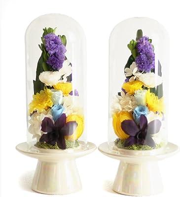 Makefuture 瑠璃 M 2個セット プリザーブドフラワー 仏花 お悔やみ ガラスドーム お手入れ不要 ペア 1対